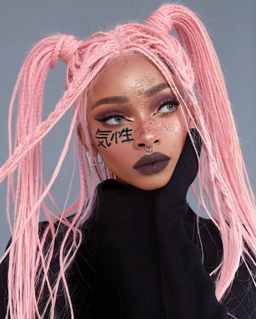 nyane lebajoa pink braided wig