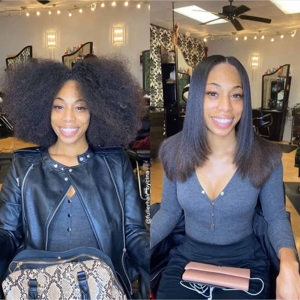 silk press on natural hair results
