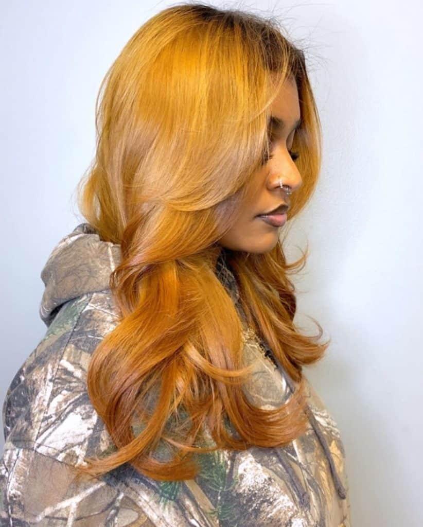 silk press and dye on long natural hair