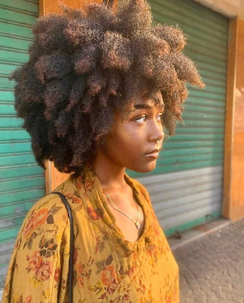 afro natural hairstyle on kinky hair