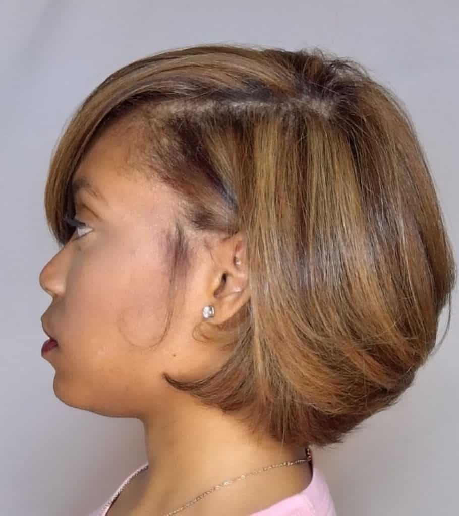 silk press on natural hair in a bob