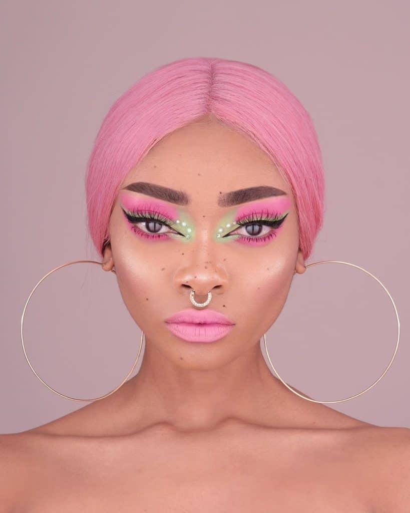 nyane lebajoa pink hair