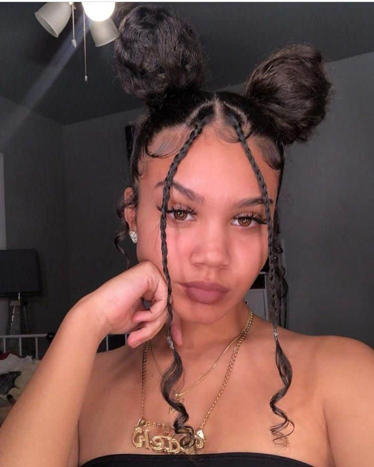 space buns on natural hair