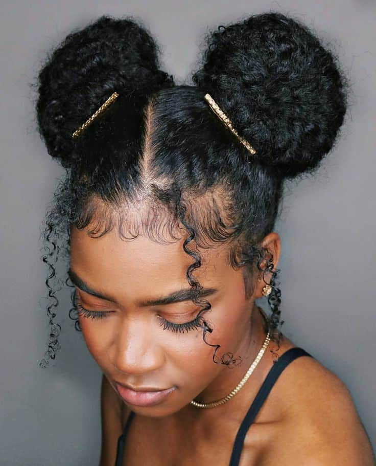 space buns on natural black hair
