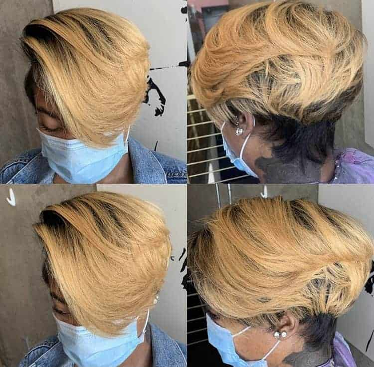 Blonde pixie cut hairstyle on a Black woman