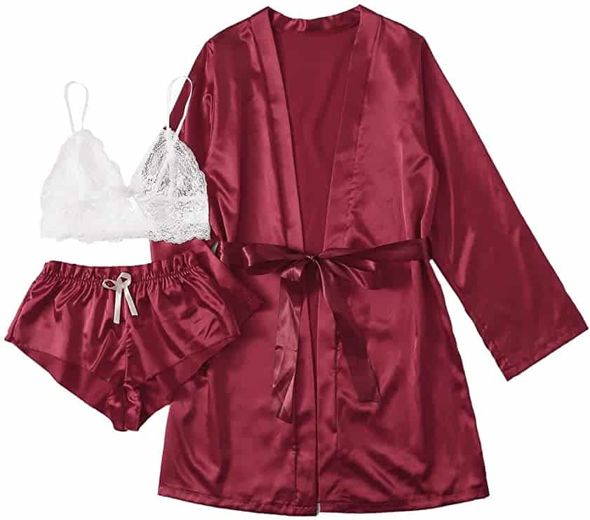 SOLY HUX Women's Sleepwear Floral Lace Trim Satin Cami Pajama Set with Robe- burgundy
