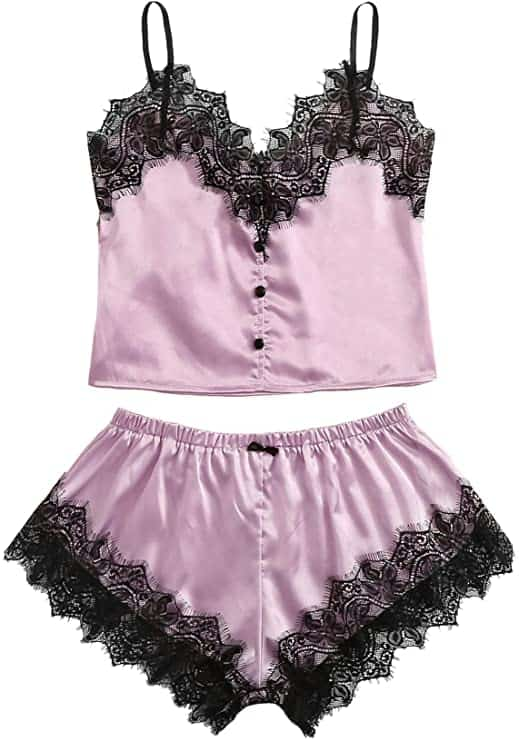 WDIRARA Women's Lace Trim Satin Sleepwear V Neck Cami Top and Shorts Pajama Set- purple womens loungewear set