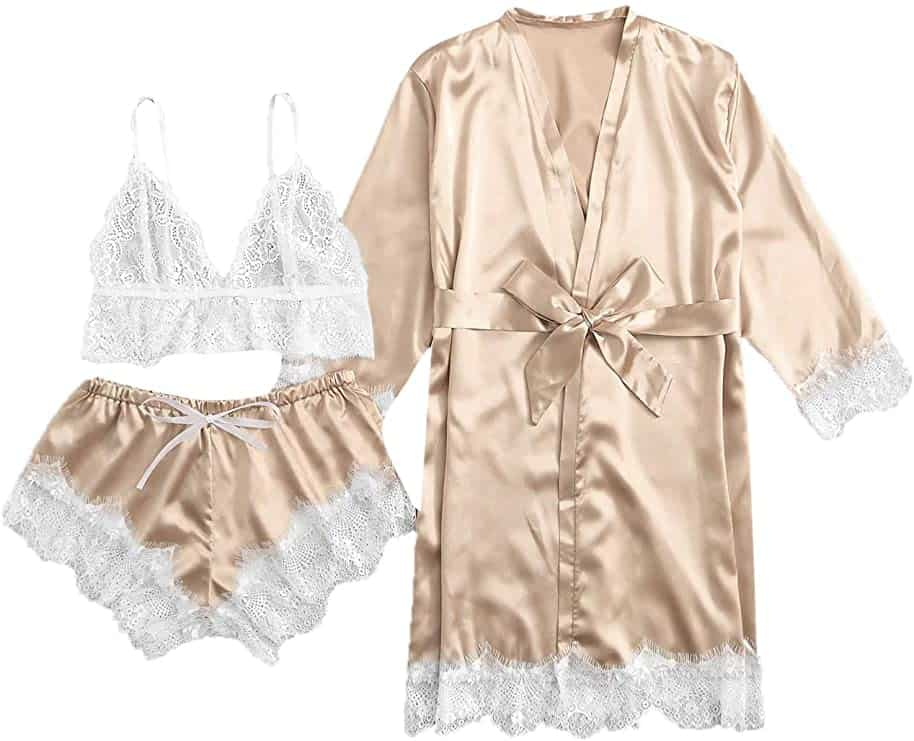 SOLY HUX Women's Sleepwear Floral Lace Trim Satin Cami Pajama Set with Robe- gold