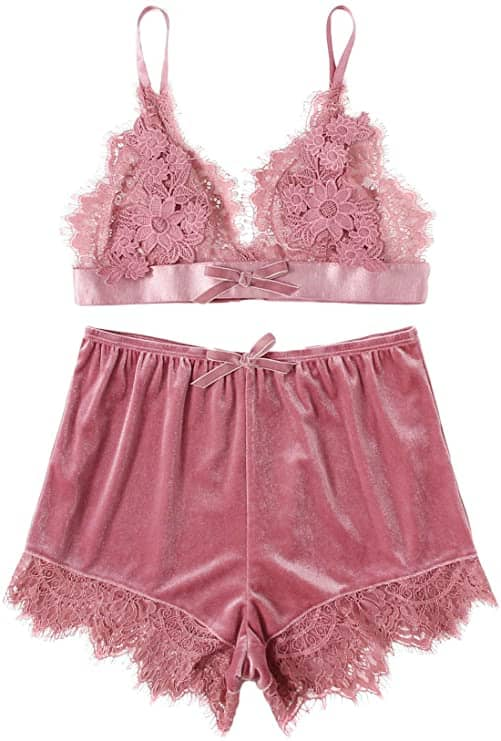 DIDK Women's Lace Trim Velvet Bralette and Shorts Pajama Set