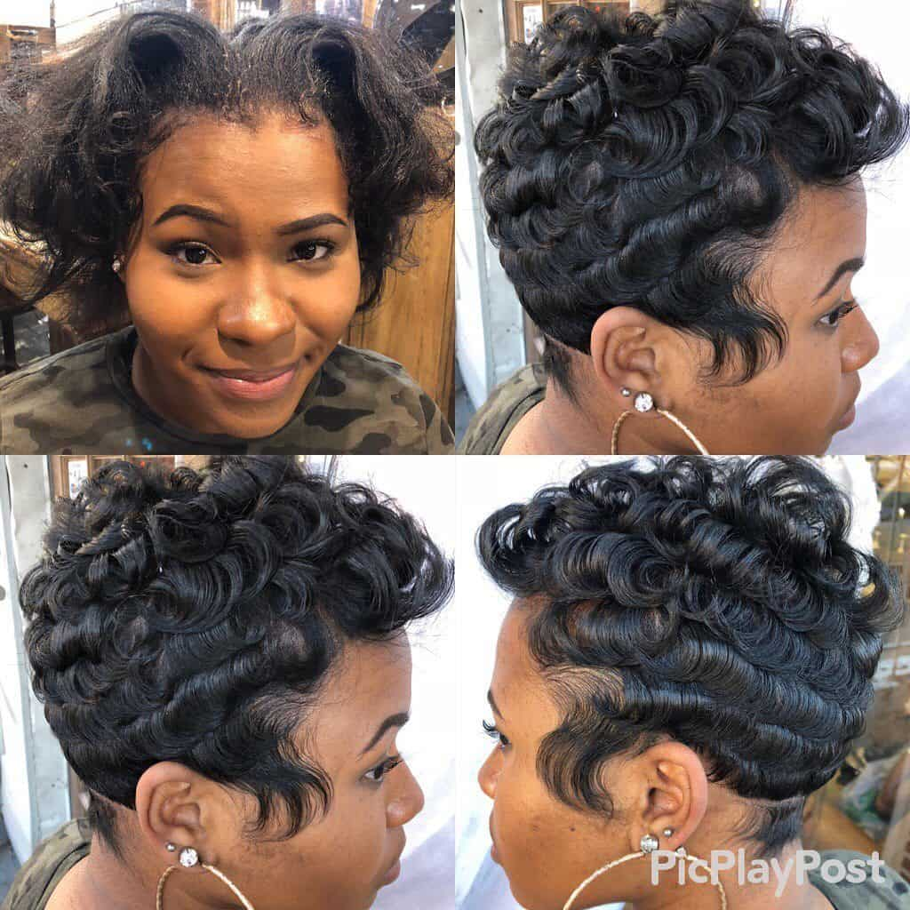 pin curls pixie cut