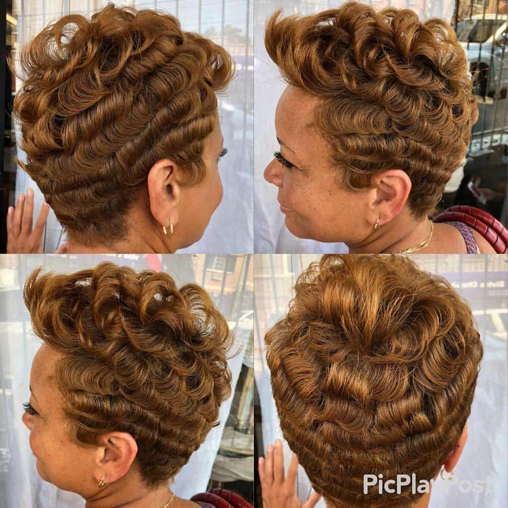 pin curls pixie cut