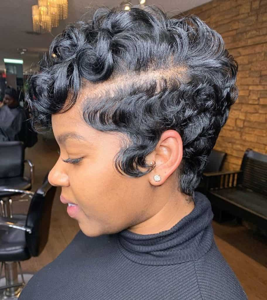 pin curls pixie cut black women