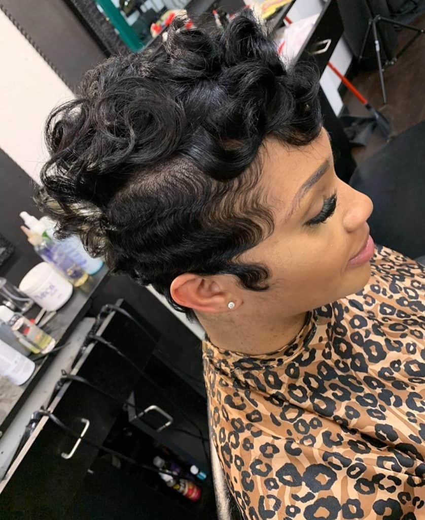 pin curls pixie cut black women