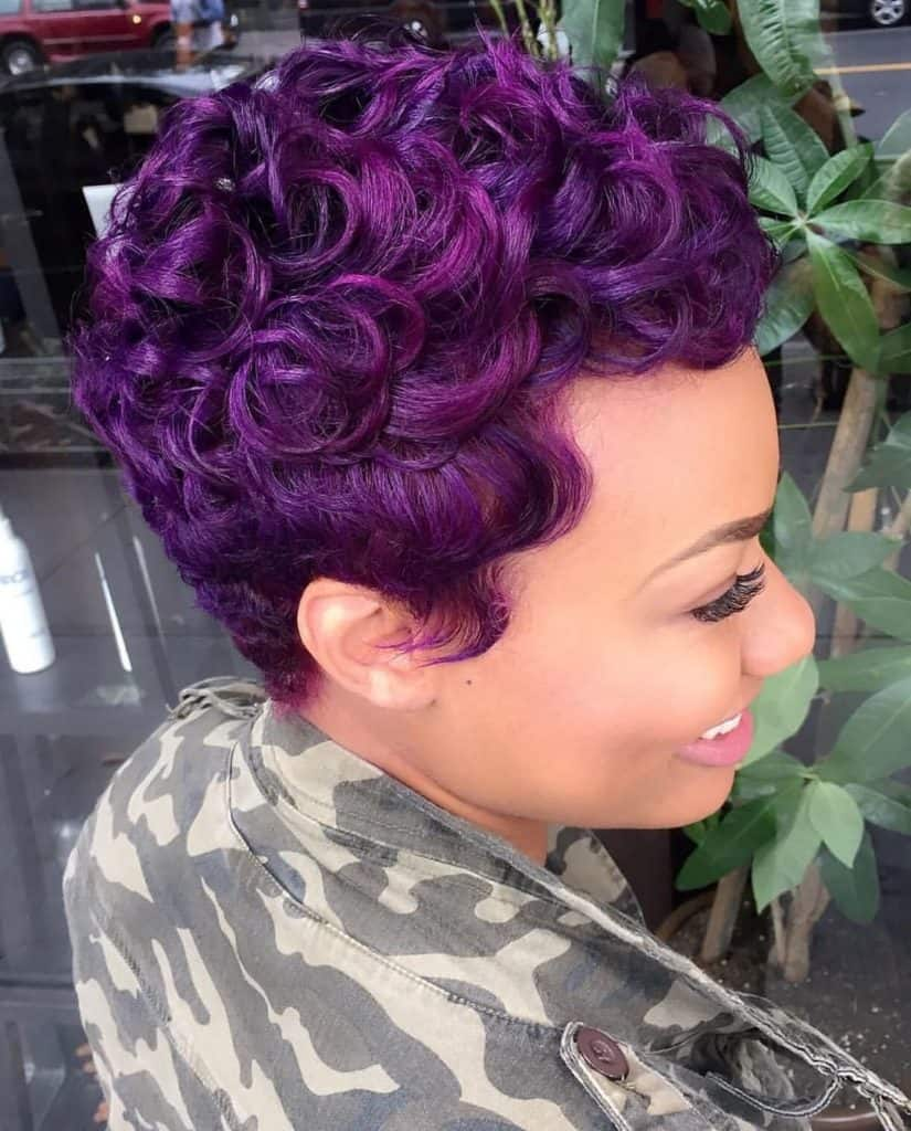 purple pin curls pixie cut