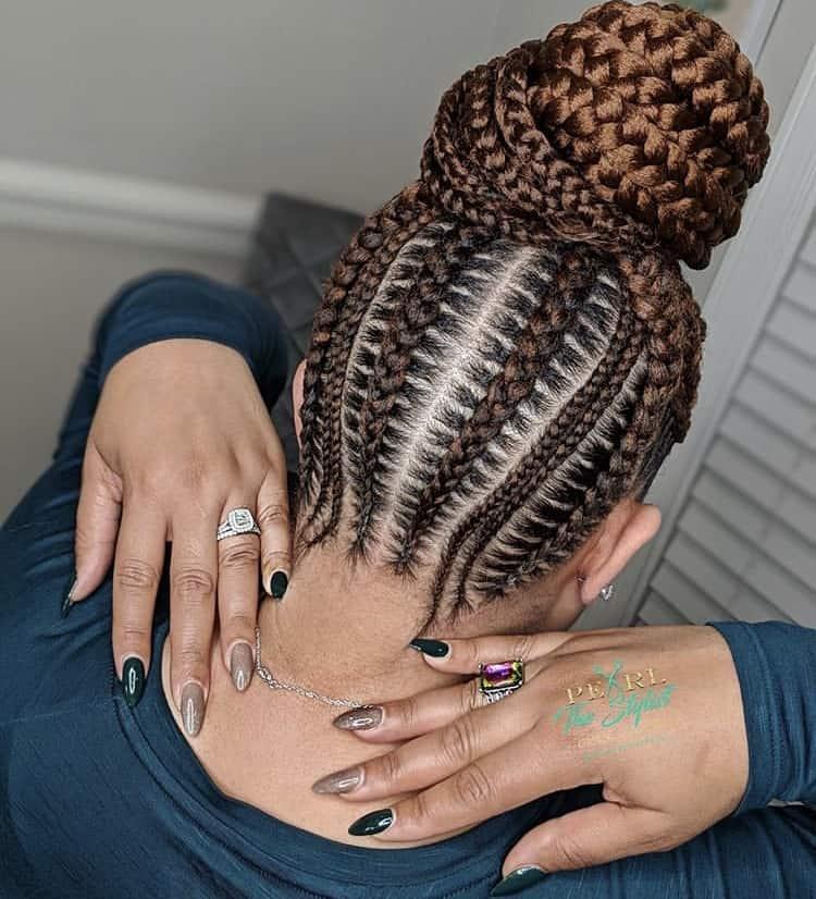 brown bun stitch braids