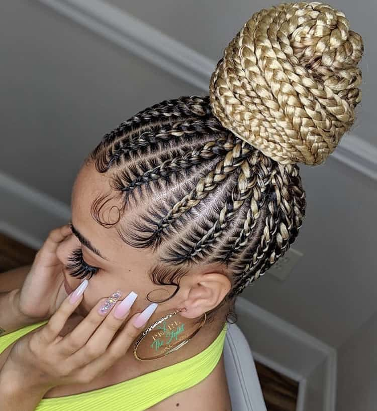 blonde bun stitch braids