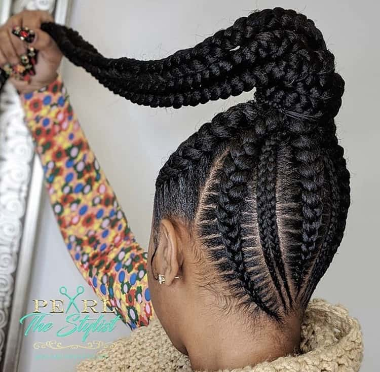 thick ponytail stitch braids