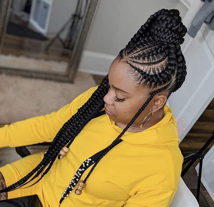 thick ponytail stitch braids