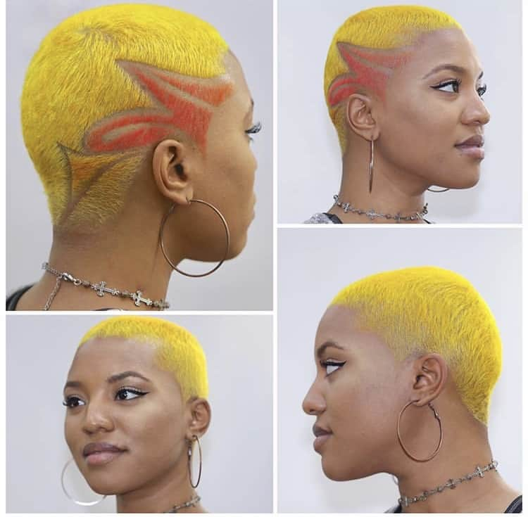 Yellow tapered fade haircut