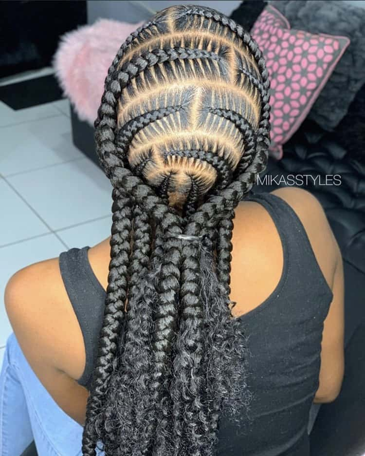 Pop smoke braids with curly ends