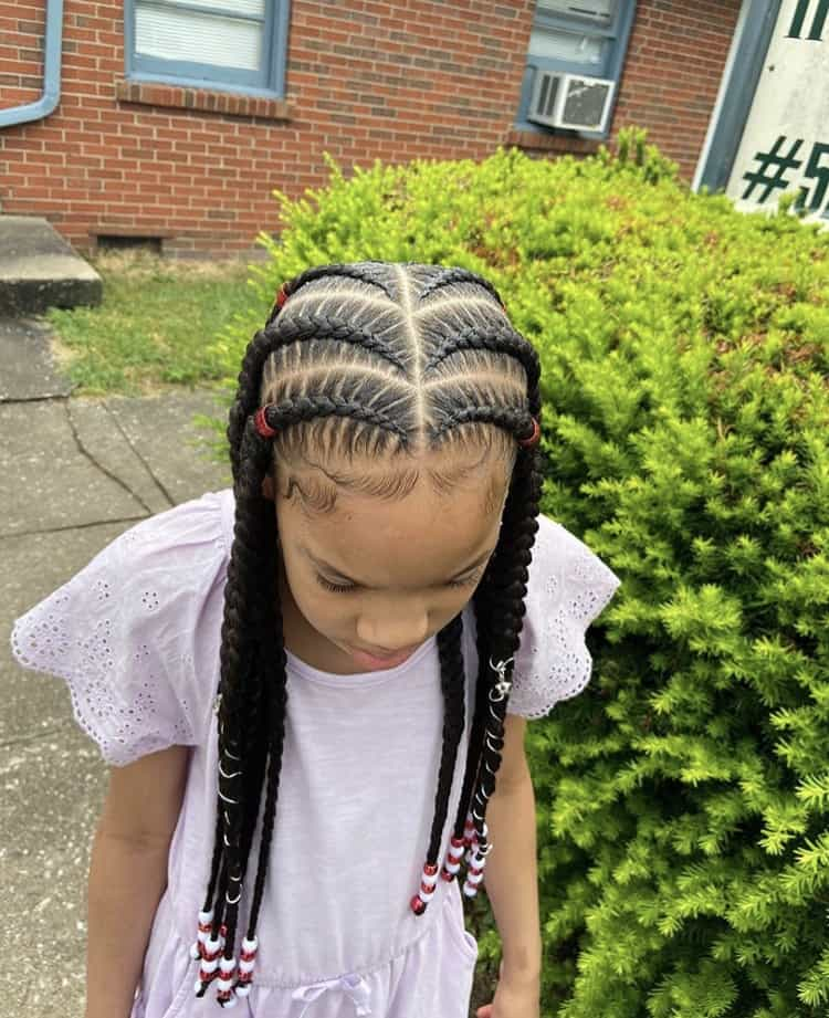 Pop smoke braids for kids with beads