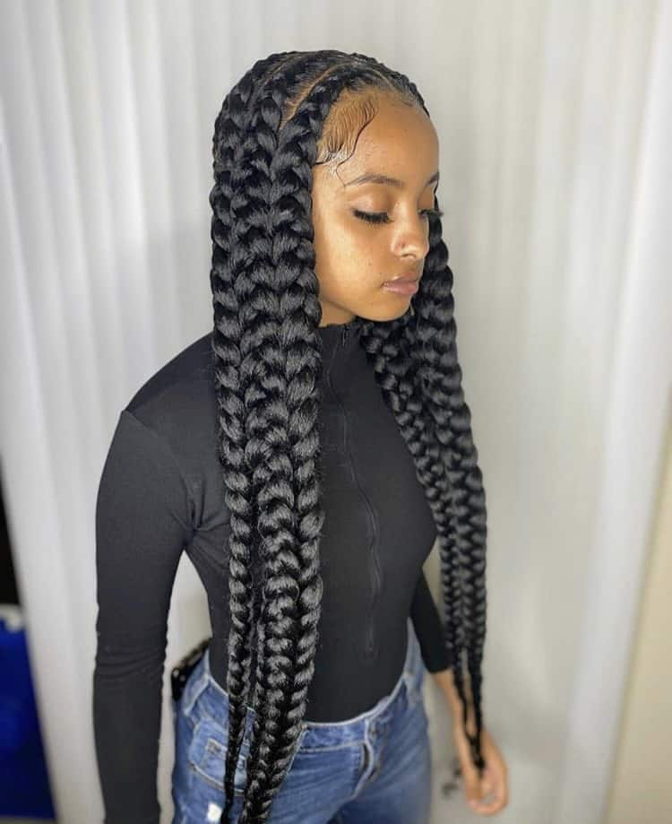 Long jumbo pop smoke braids