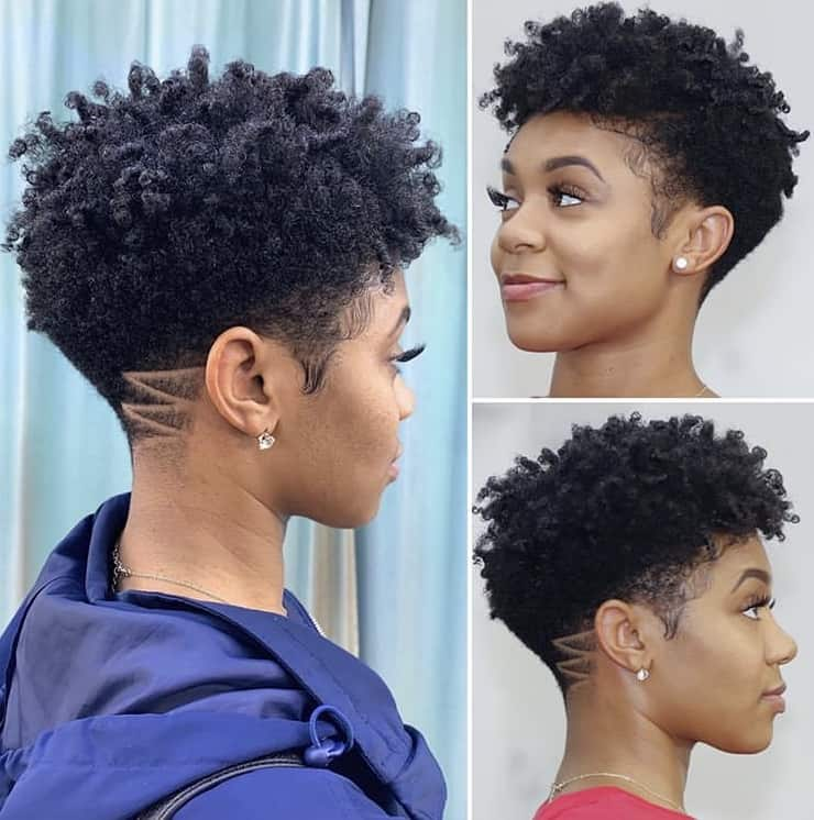 Tapered haircut on kinky hair