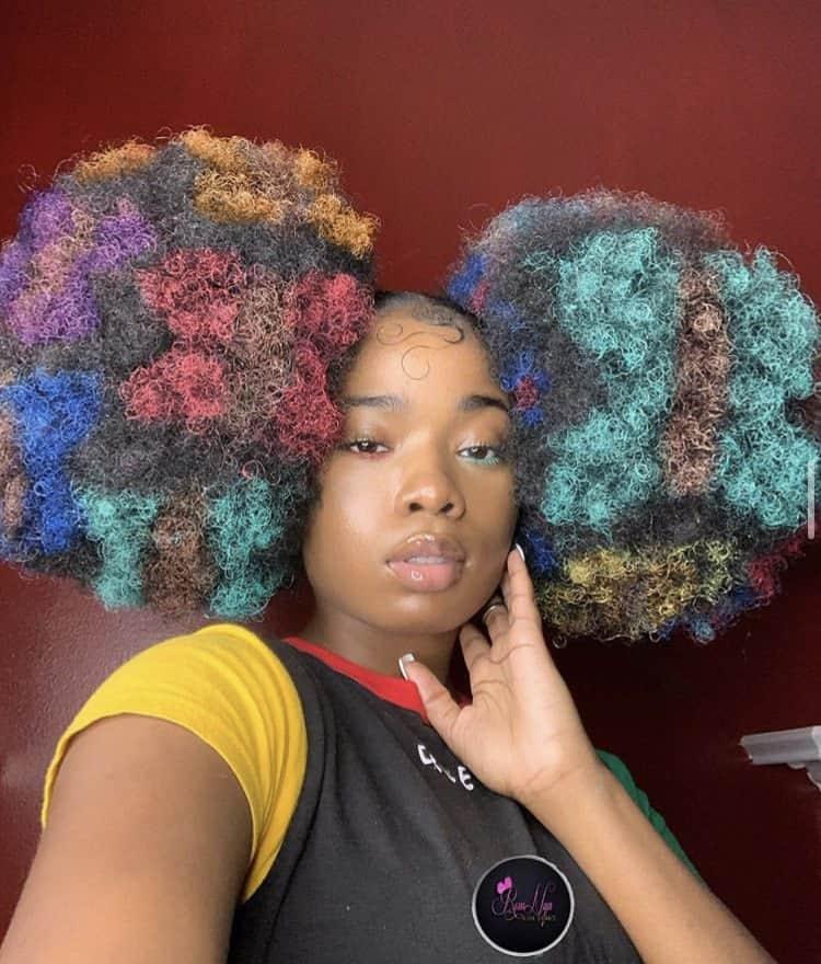 Black girl natural hair puffs