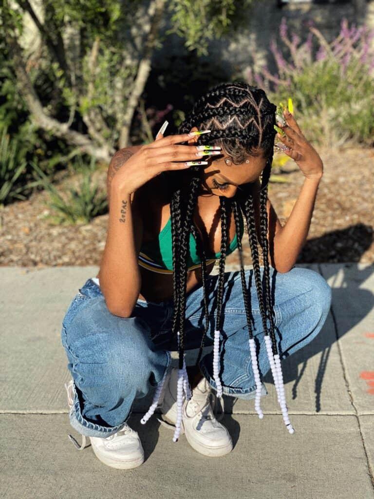 Long pop smoke braids with beads