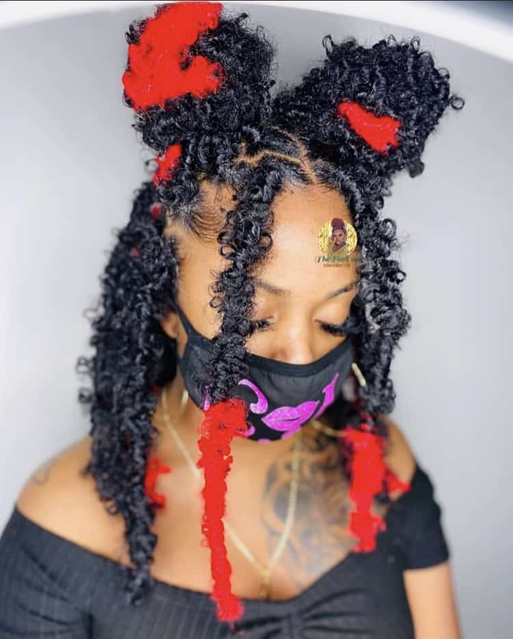 Black and red butterfly locs