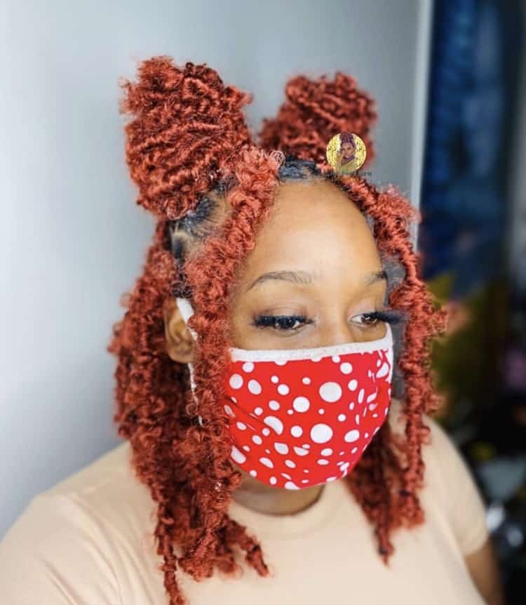 Ginger colored short butterfly locs