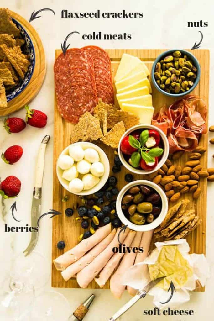 Low carb and gluten free cheese platter