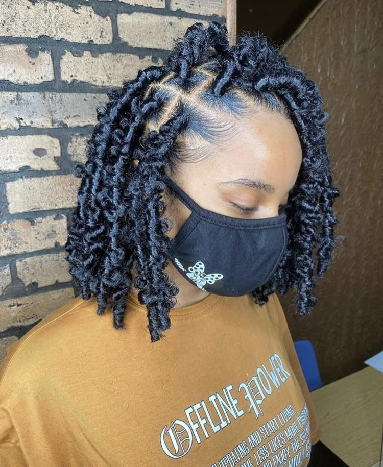 Black Bob butterfly locs