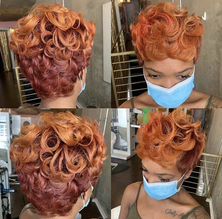 Ginger Pixie cut on black women