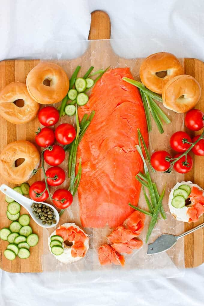 Bagels and lox charcuterie board