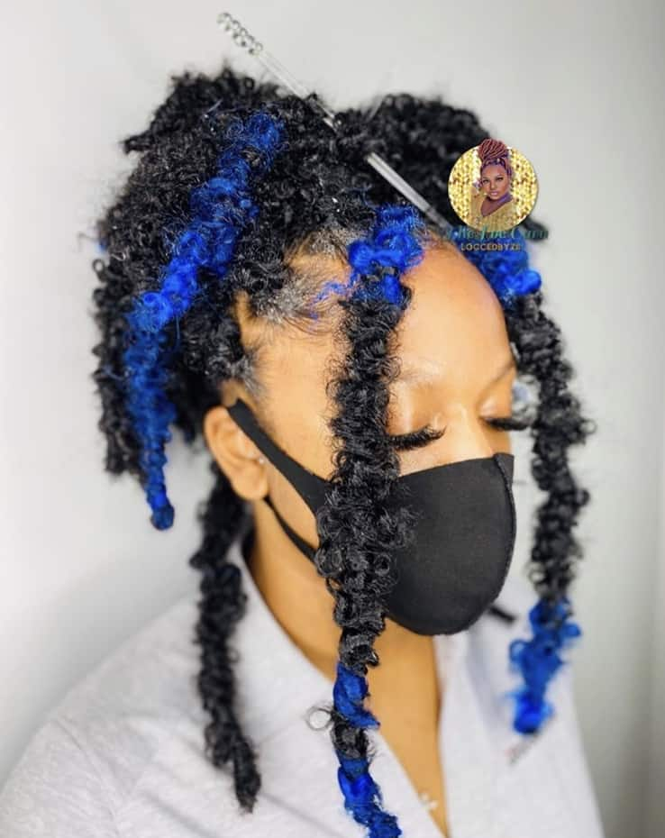 Black & blue butterfly locs
