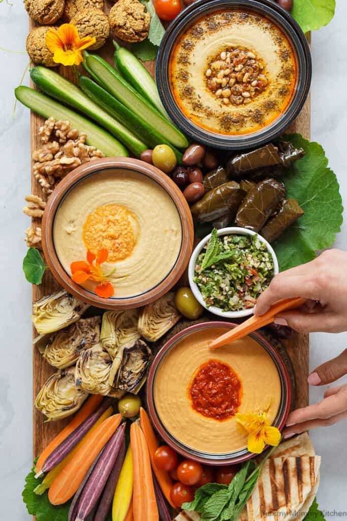 Mediterranean mezze hummus platter