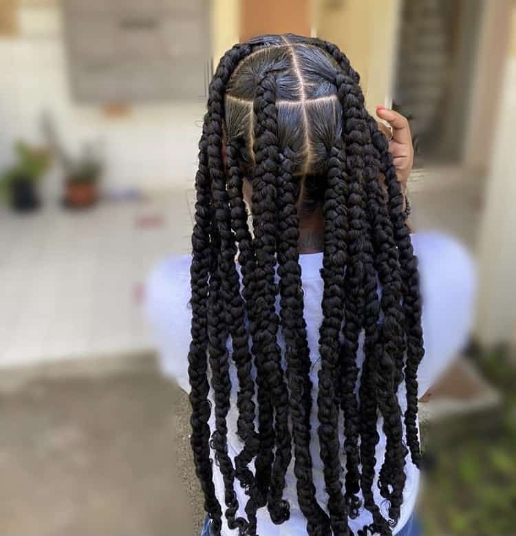 Medium length jumbo passion braids