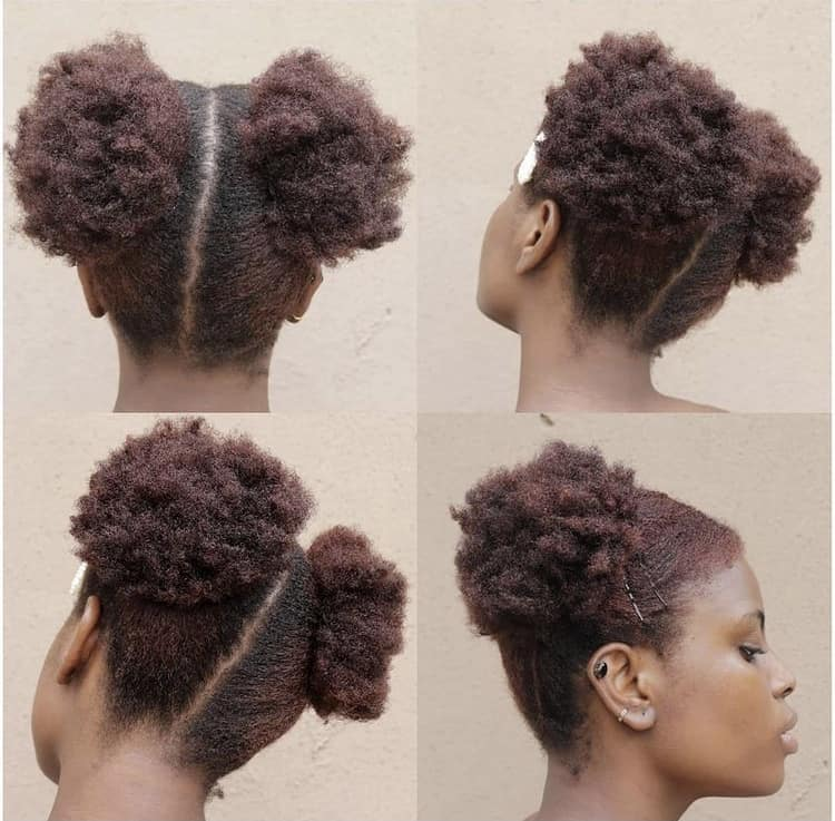 Space buns on 4c natural hair