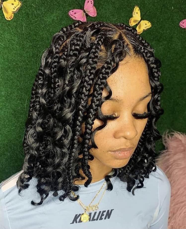 bob boho knotless box braids.