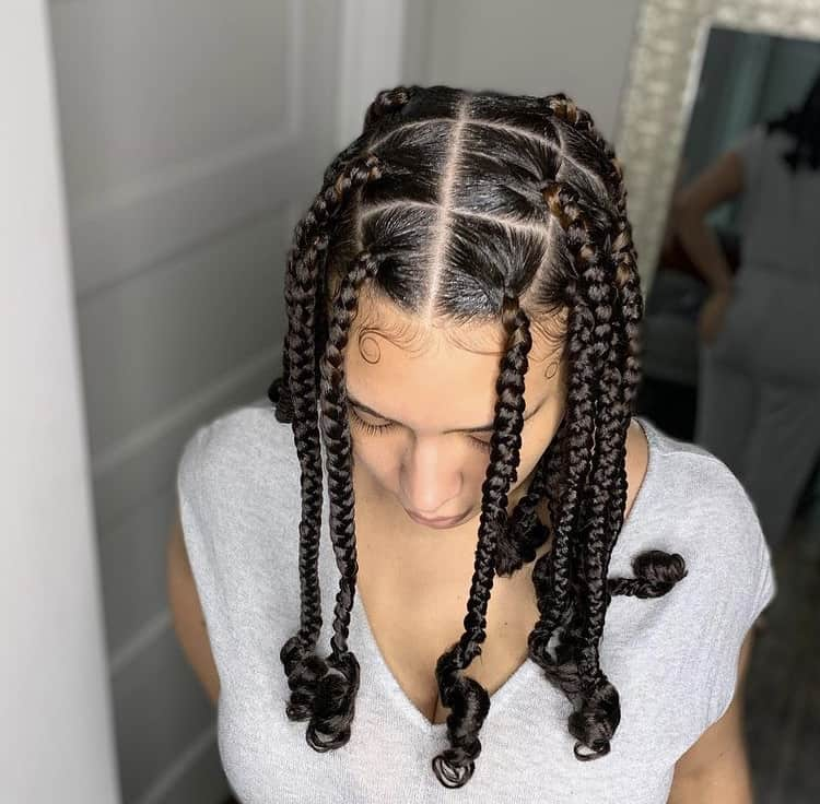 Knotless braids with curly ends/coi leray braids