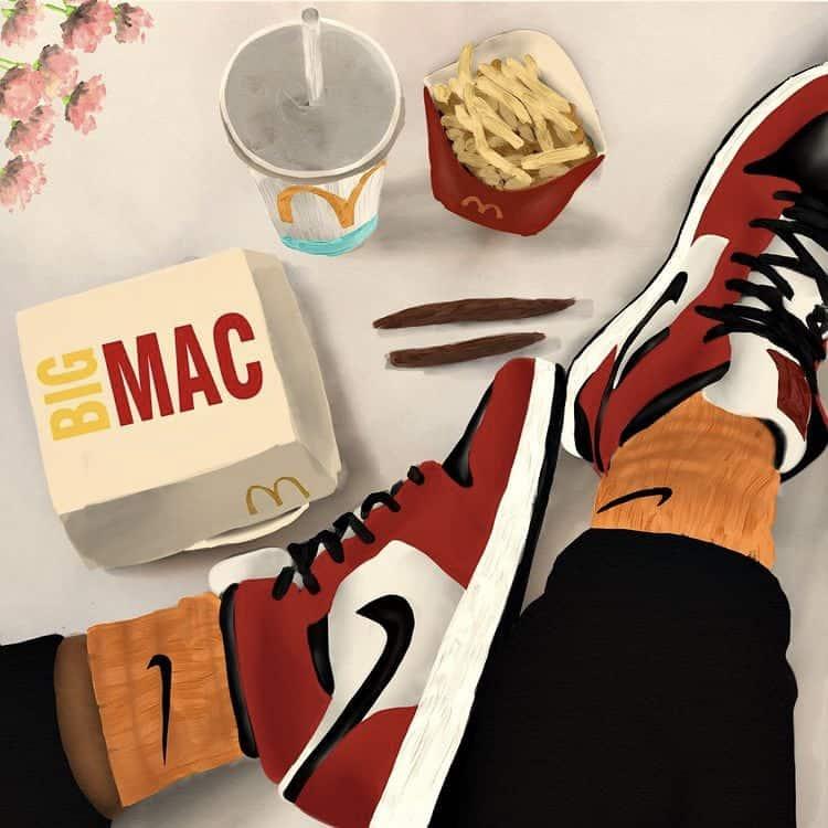 Big Mac , air Jordan 1 painting