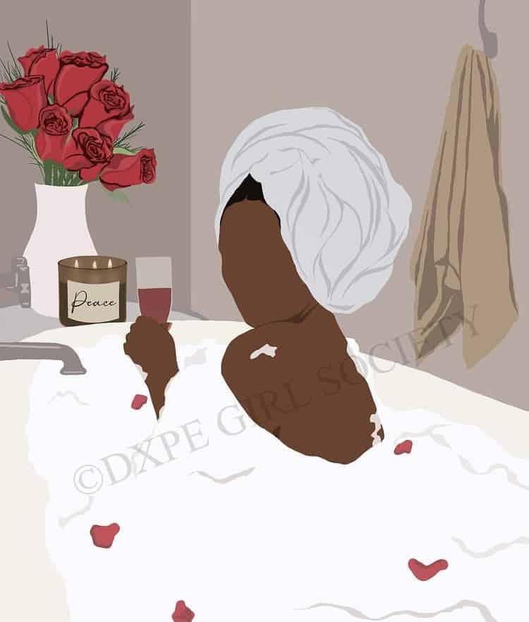 black woman in a tub art