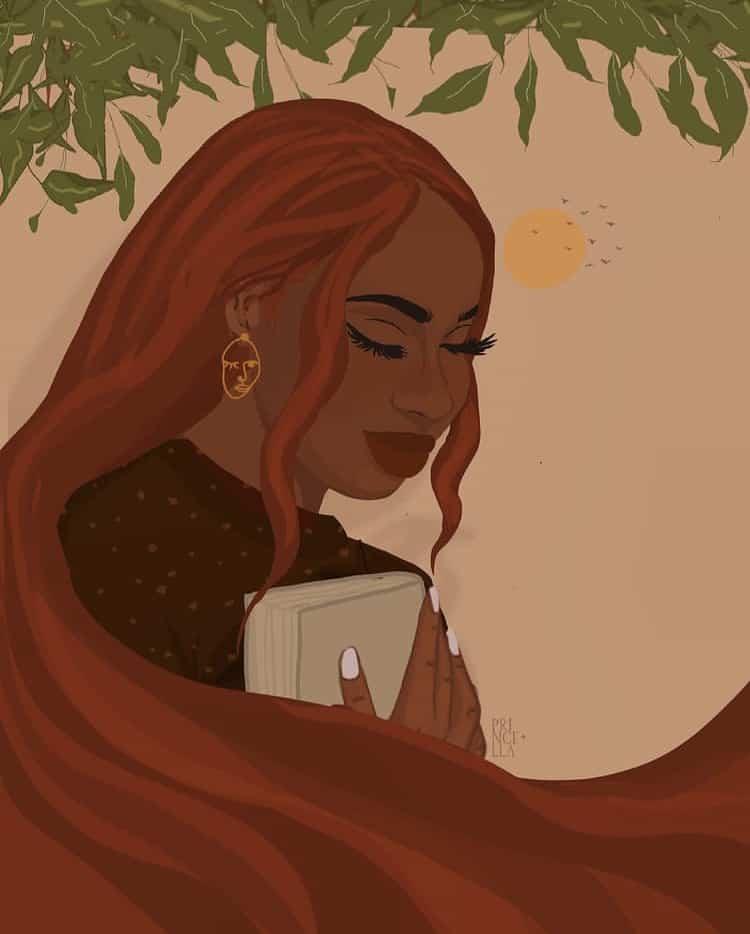Black woman in ginger hair illustration art
