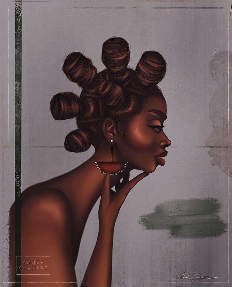 bantu knots illustration art