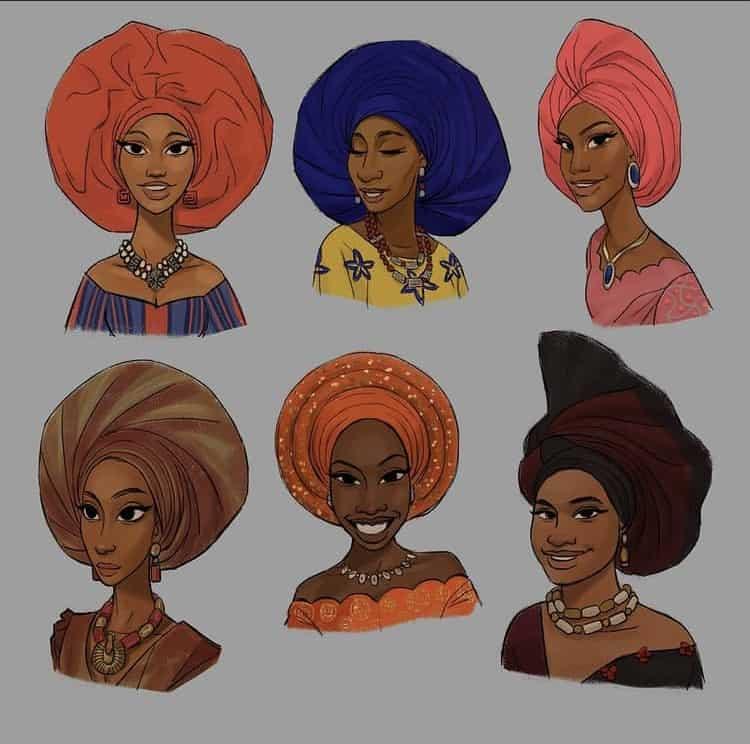 women wearing Gele head wraps illustration art