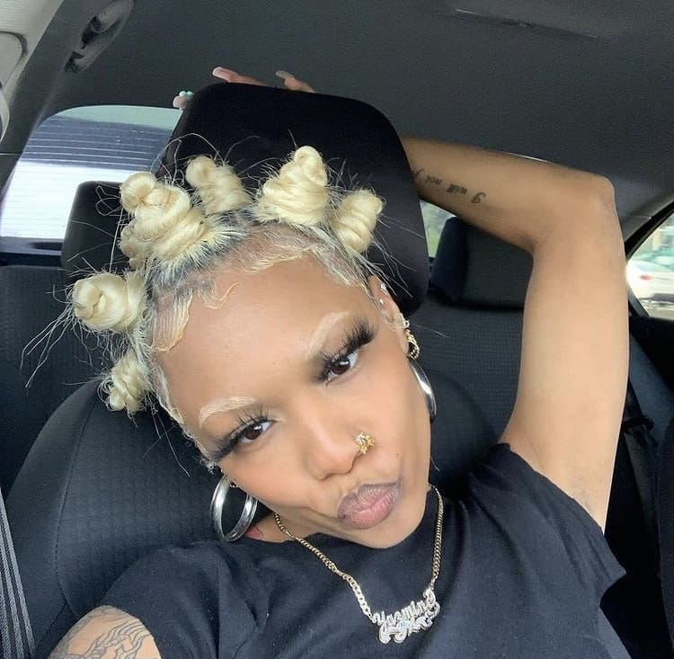 Bantu knots on dyed blonde relaxed hair