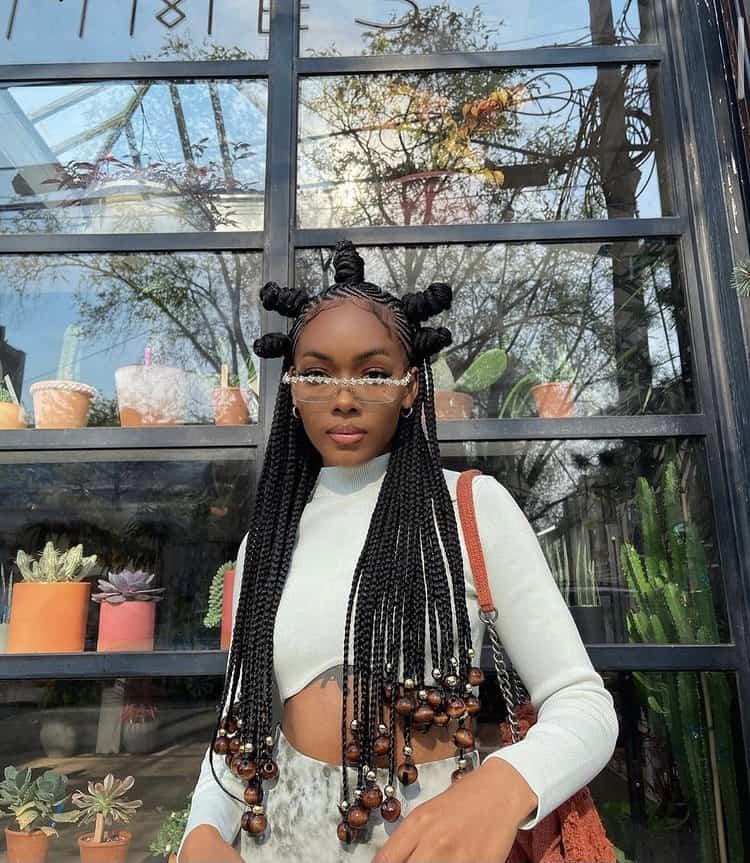 Bantu knots on braided hair/braids
