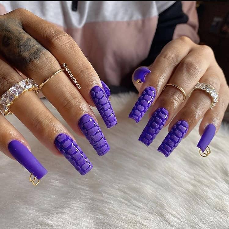 purple croc textured nails