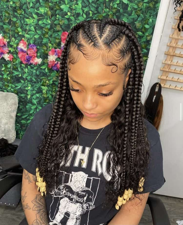 feed in Cornrows with curly weave hair